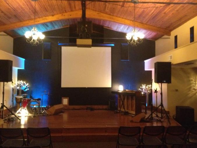 restoration hall_stage lit up