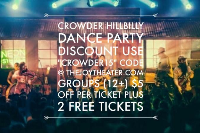 Crowder Hillbilly Dance Party Discount_April 12_Joy Theater